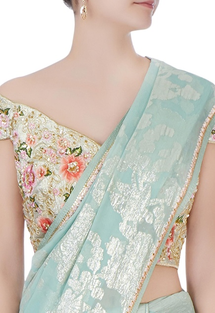 Blue sari with floral blouse & petticoat