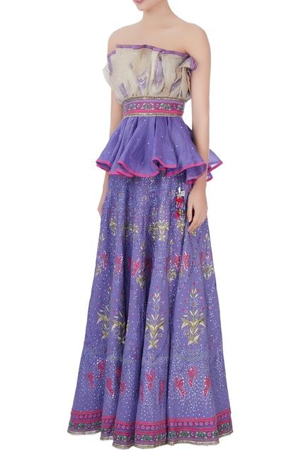 Purple & pink off-shoulder blouse & lehenga