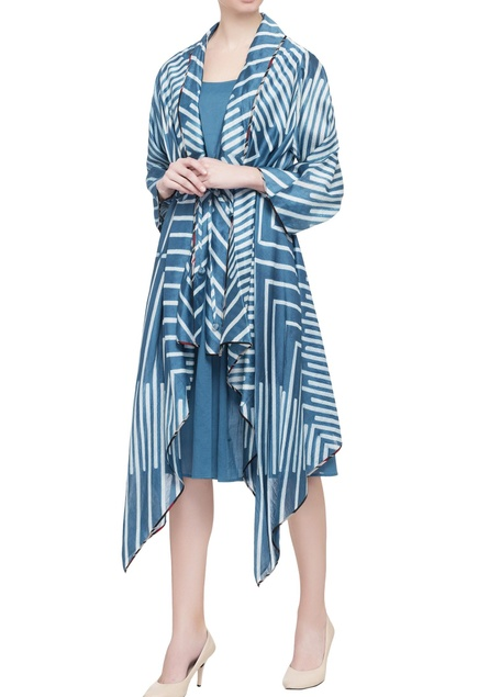 Blue printed shibori jacket