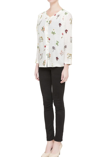White floral printed shirt