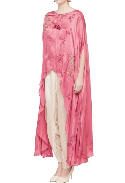 Pink cape & beige dhoti pants