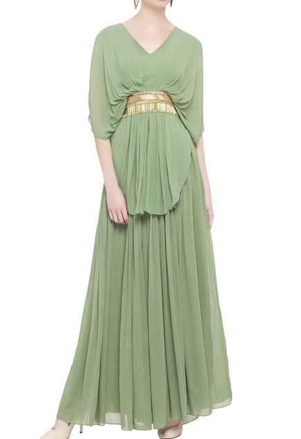 Green double layered georgette gown
