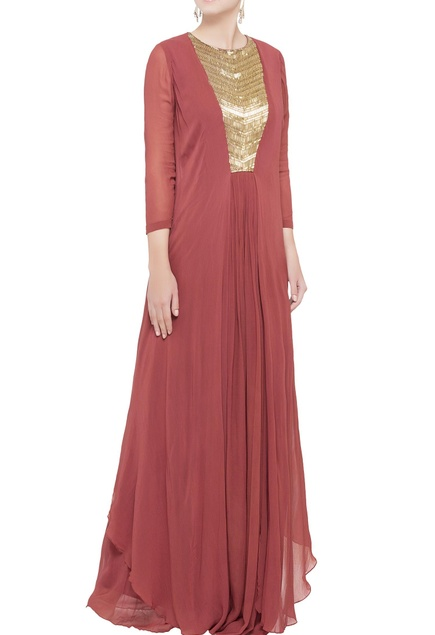 Coral pink layered gown
