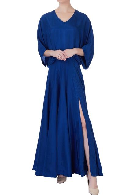 Blue flared habutai silk gown
