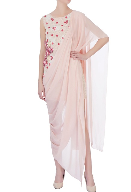 Peach pearl embellished sari gown