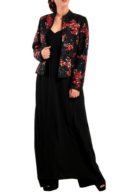 Black georgette long kurta & jacket