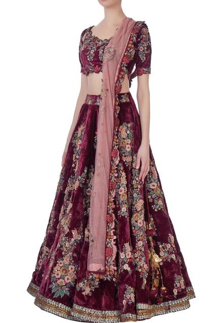 Burgundy  embellished lehenga set