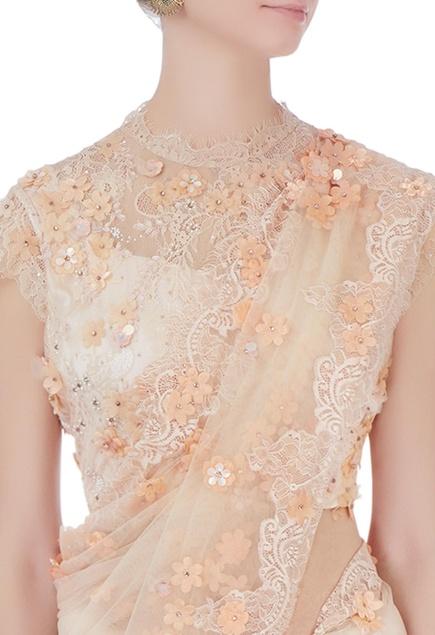 Beige chantilly lace sari