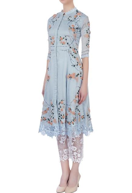 Sky blue rose embellished kurta and pants
