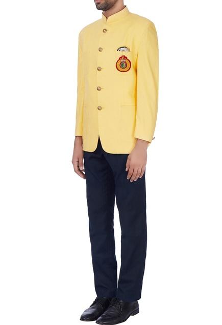Bright yellow crest nehru jacket