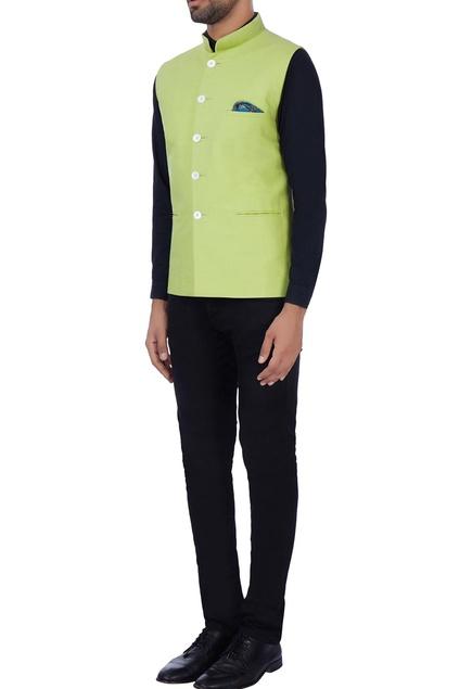 Light green pocket nehru jacket