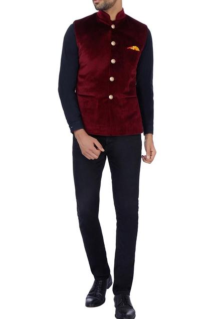 Maroon  pocket nehru jacket