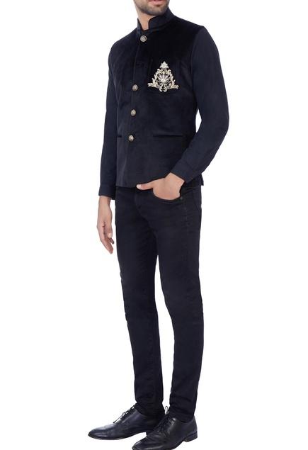 Black zardosi embroidered nehru jacket