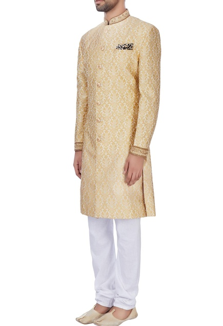 Gold silk brocade sherwani