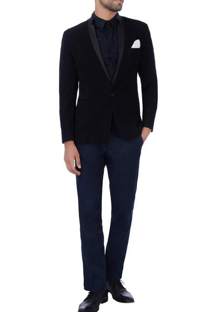Black pocket square jacket