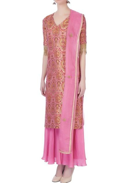 Pink brocade handloom kurta set