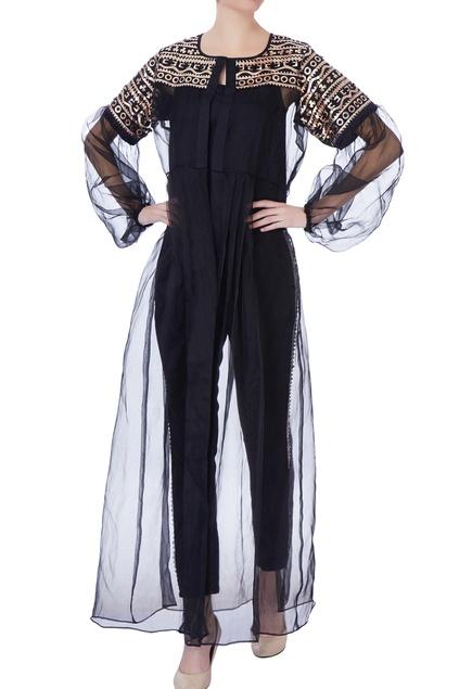 Black organza long jacket
