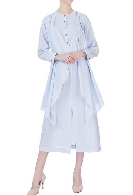 Sky blue waterfall robe dress