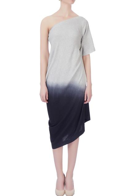 Grey shaded effect one shoulder dress