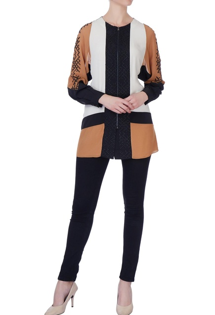 Brown & black color block blouse