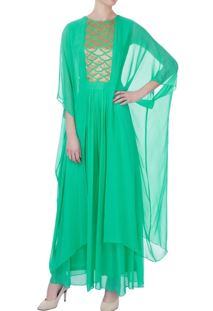 Seagreen bugle embroidered jumpsuit