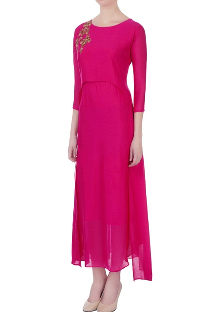 Hot pink zardozi embroidered kurta