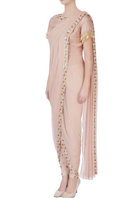 Beige draped sari with pants & blouse
