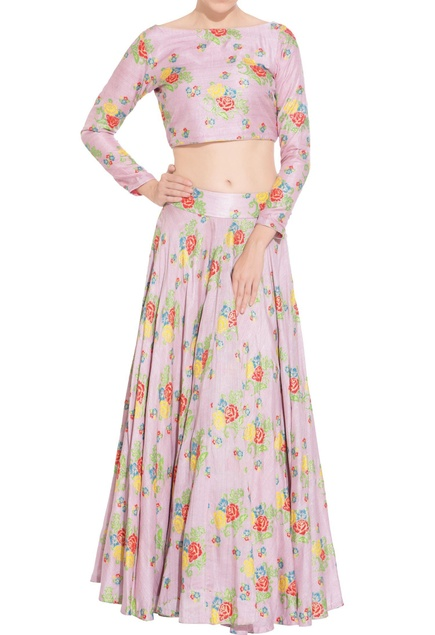 Lilac thai silk lehenga with blouse