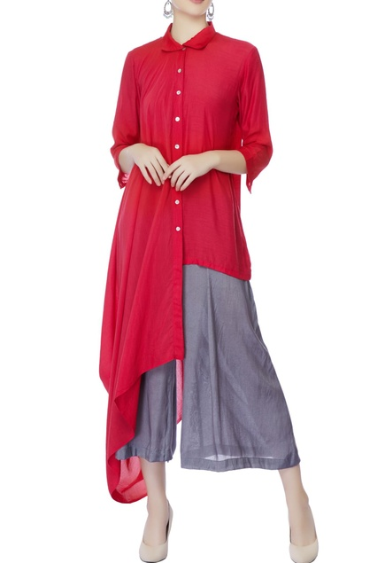 Red high low tunic & culotte pants