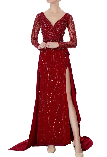 Maroon & red bead embellished gown