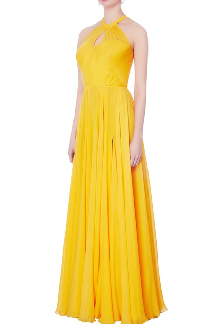 Yellow halter chiffon silk gown