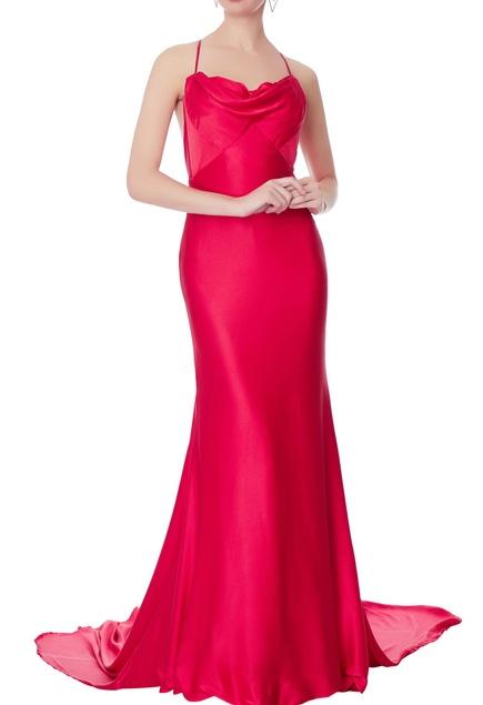 Red satin cowl neckline gown