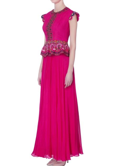 Pink chiffon peplum gown