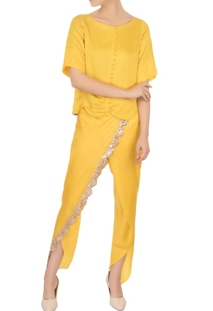 Yellow camisole with mirror dhoti pants