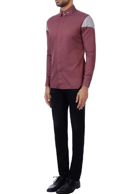 Red & grey cotton textured shirt