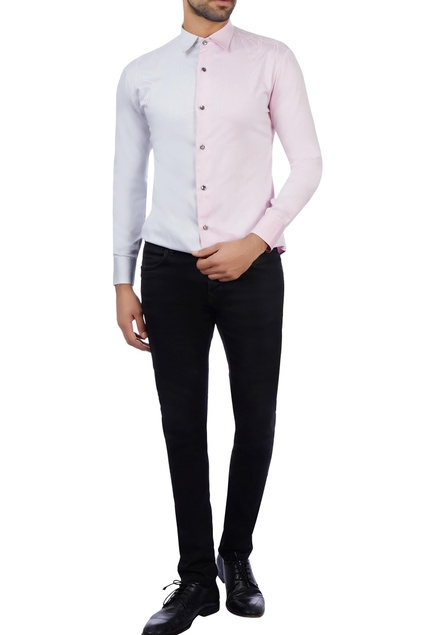 Baby pink & silver grey cotton embroidered shirt
