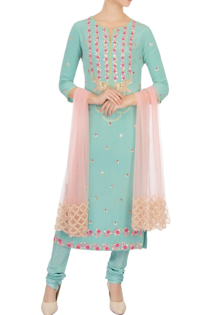 Blue sequin embellished kurta set