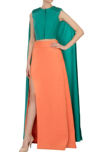 Green drape moss georgette blouse and skirt set