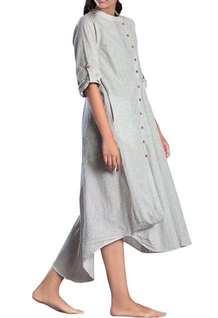 White striped cowl dress