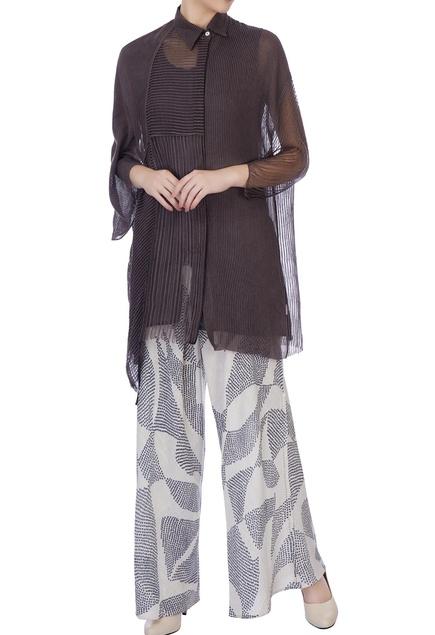 Ecru & dark grey sheer silk & organic handwoven cotton blouse and palazzo