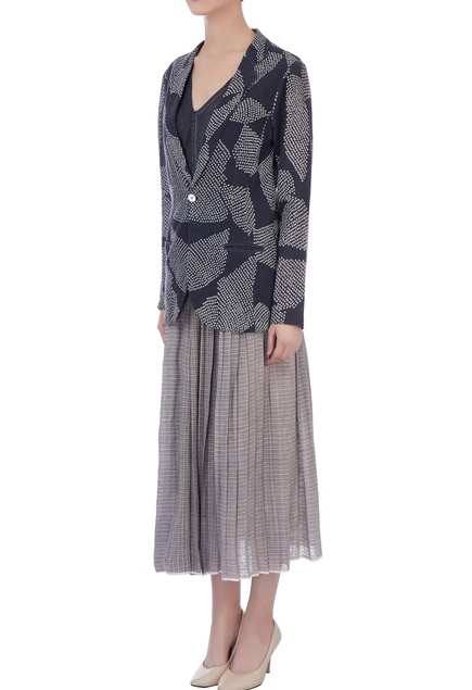 Light & dark grey organic handwoven cotton  jacket with skirt