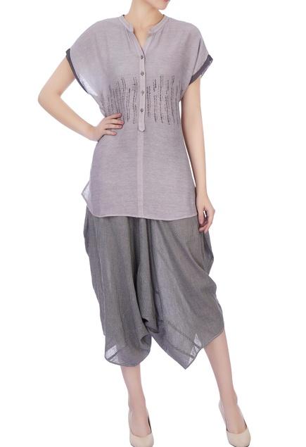 Grey hand woven silk top & pants