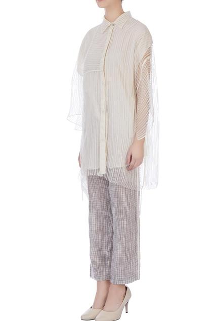 Ecru & dark grey  striped blouse and pants