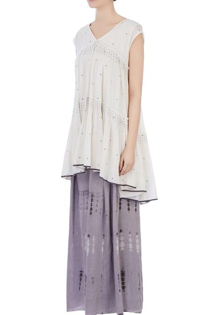 Ecru cotton voil pleated blouse