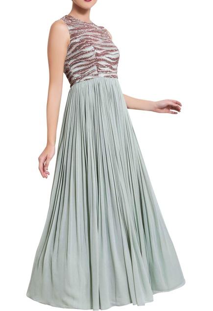 Mint green nalki work maxi dress