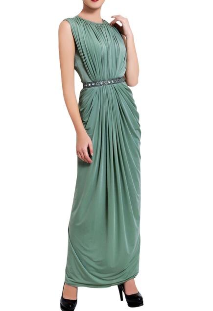 Sea green mirror draped dress
