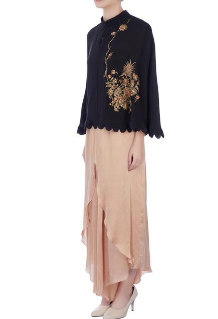 Black chanderi hand painted blouse