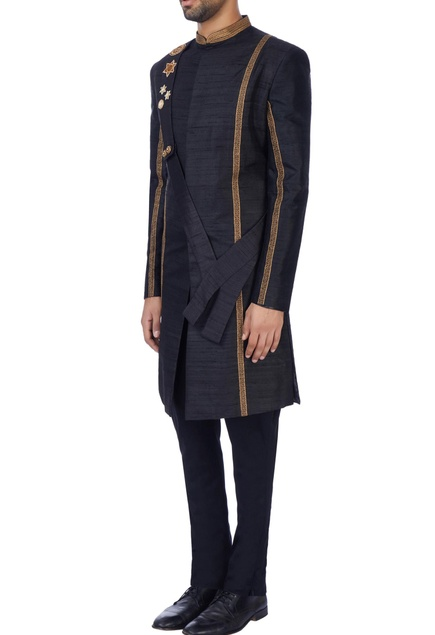 Black raw silk sherwani with embroidered sash