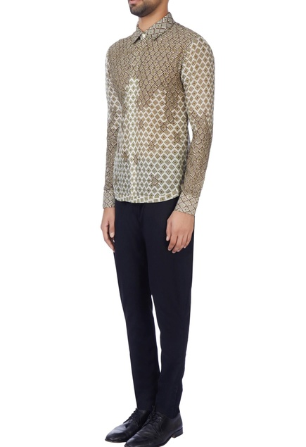 Beige printed embroidered shirt
