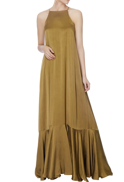 Olive green silk gown